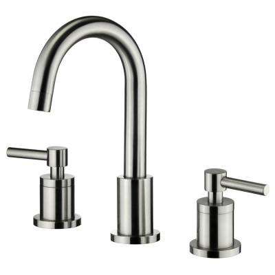 Modern 8 in. Widespread 2-Handle Medium-Arc Bathroom Faucet with Swivel Spout in Brushed Nickel