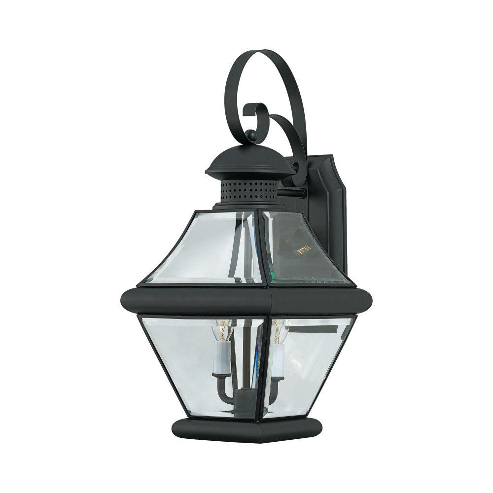 Filament Design Lawrence 2-Light Outdoor Mystic Black Incandescent Wall Light