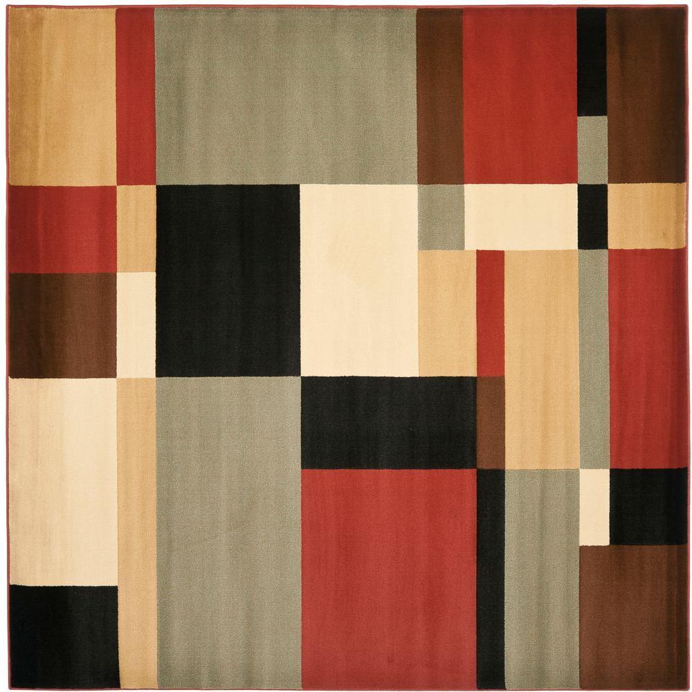 Safavieh Porcello Black/Multi 7 ft. x 7 ft. Square Area Rug