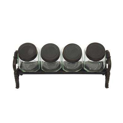 10-1/2 in. L Glass Jars with Cast Iron Lids and Rack (Set of 5)