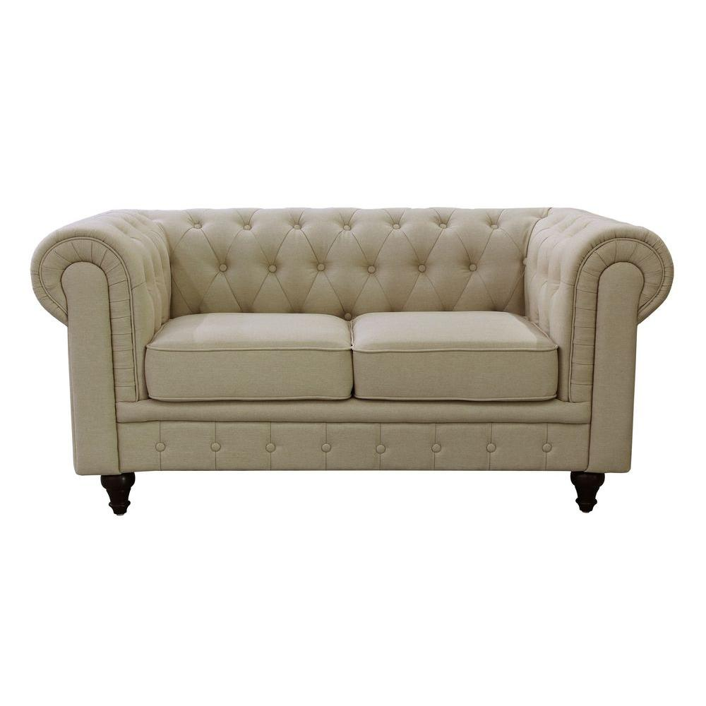 Superbe This Review Is From:Grace Chesterfield Linen Fabric Upholstered  Button Tufted Loveseat, Cream Beige