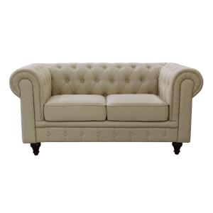 Grace Chesterfield Linen Fabric Upholstered On Tufted Loveseat Cream Beige