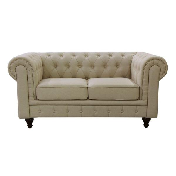 Undefined Grace Chesterfield Linen Fabric Upholstered On Tufted Loveseat Cream Beige