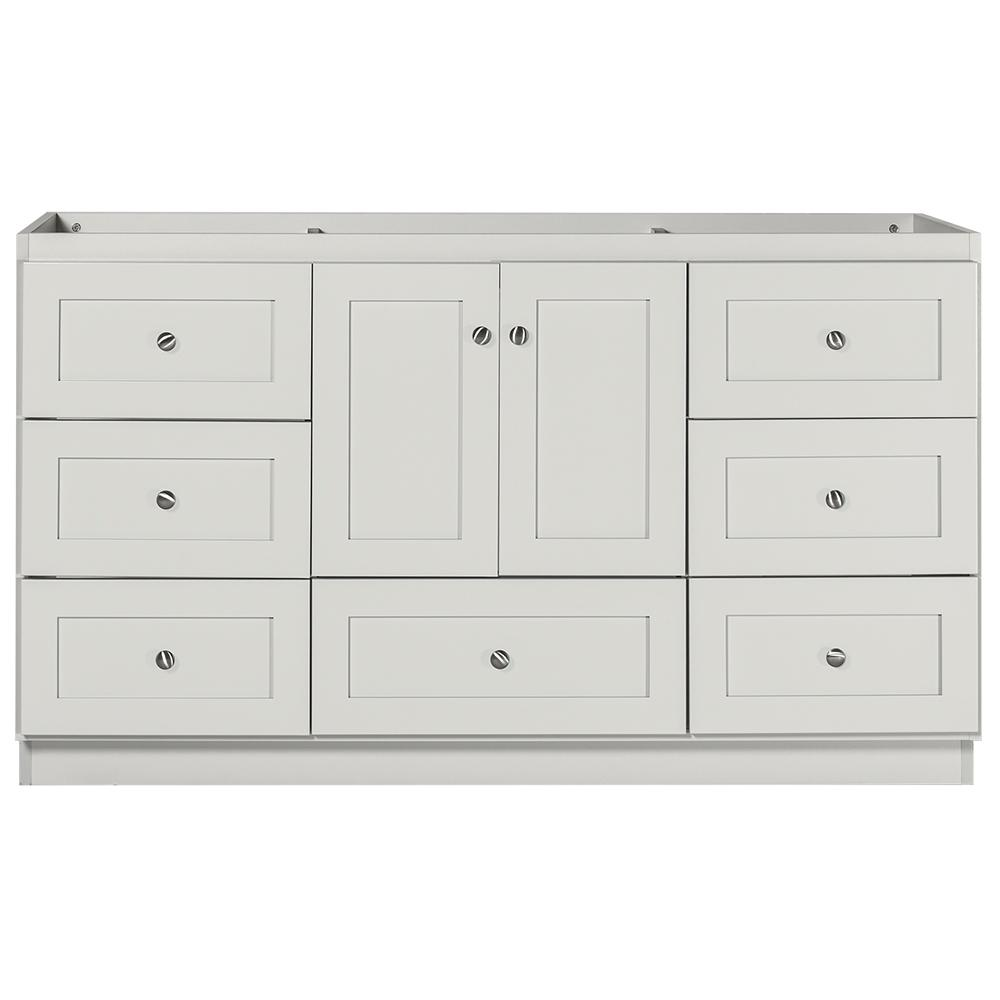Simplicity by Strasser Shaker 60 in. W x 21 in. D x 34.5 in. H Bath Vanity Cabinet Only with Center Basins in Dewy Morning