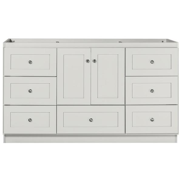 Shaker 60 in. W x 21 in. D x 34.5 in. H Bath Vanity Cabinet Only with Center Basins in Dewy Morning