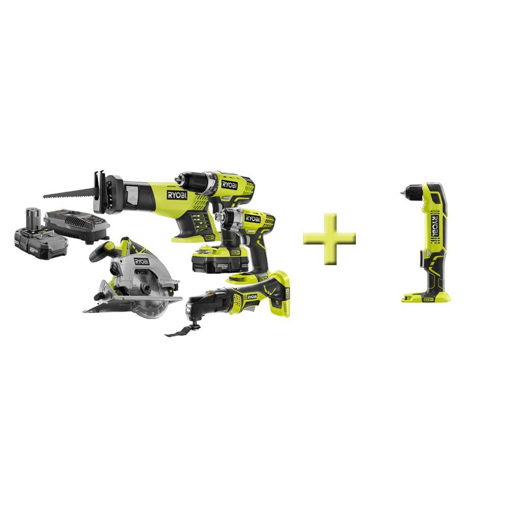 Ryobi 18-Volt ONE+ Lithium-Ion Combo Kit with Free Right Angle Drill