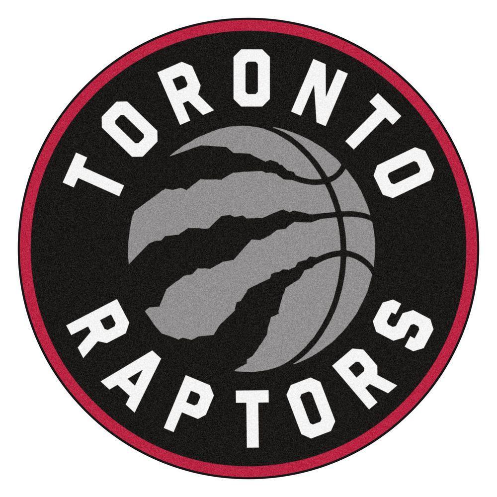 NBA Toronto Raptors Black 2 ft. x 2 ft. Round Area Rug