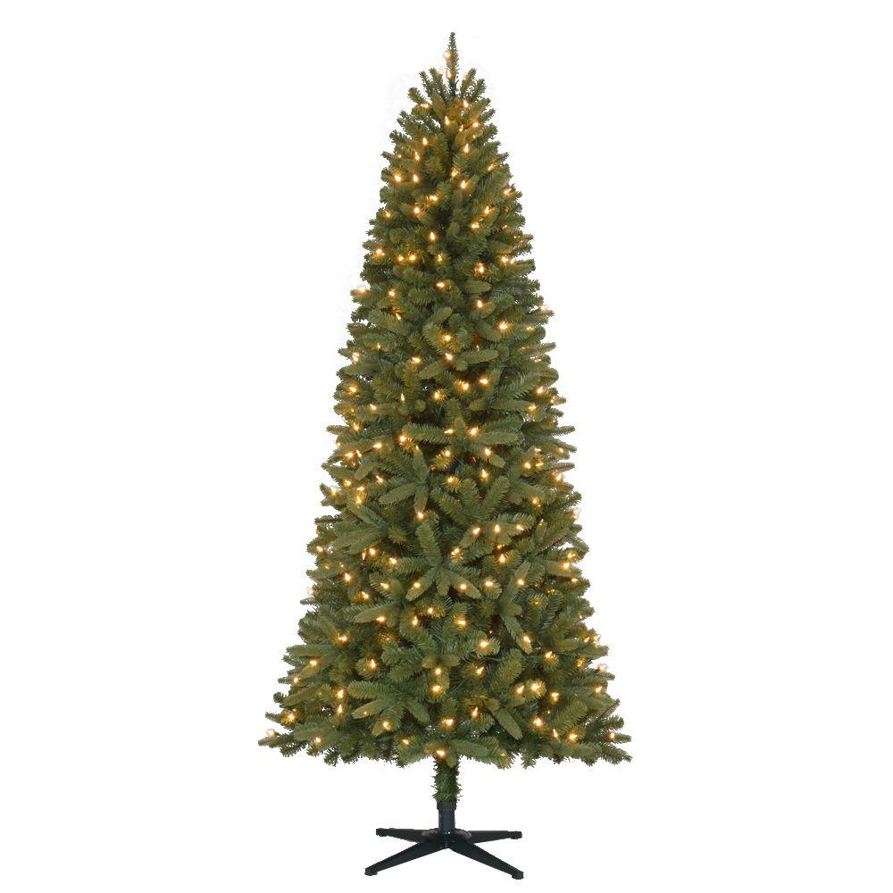 Home Accents Holiday 7 ft. Pre-Lit LED Benjamin Fir Quick-Set Artificial Christmas Tree with Warm White Lights