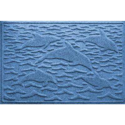 Medium Blue 24 in. x 36 in. Statement of Porpoise Polypropylene Door Mat