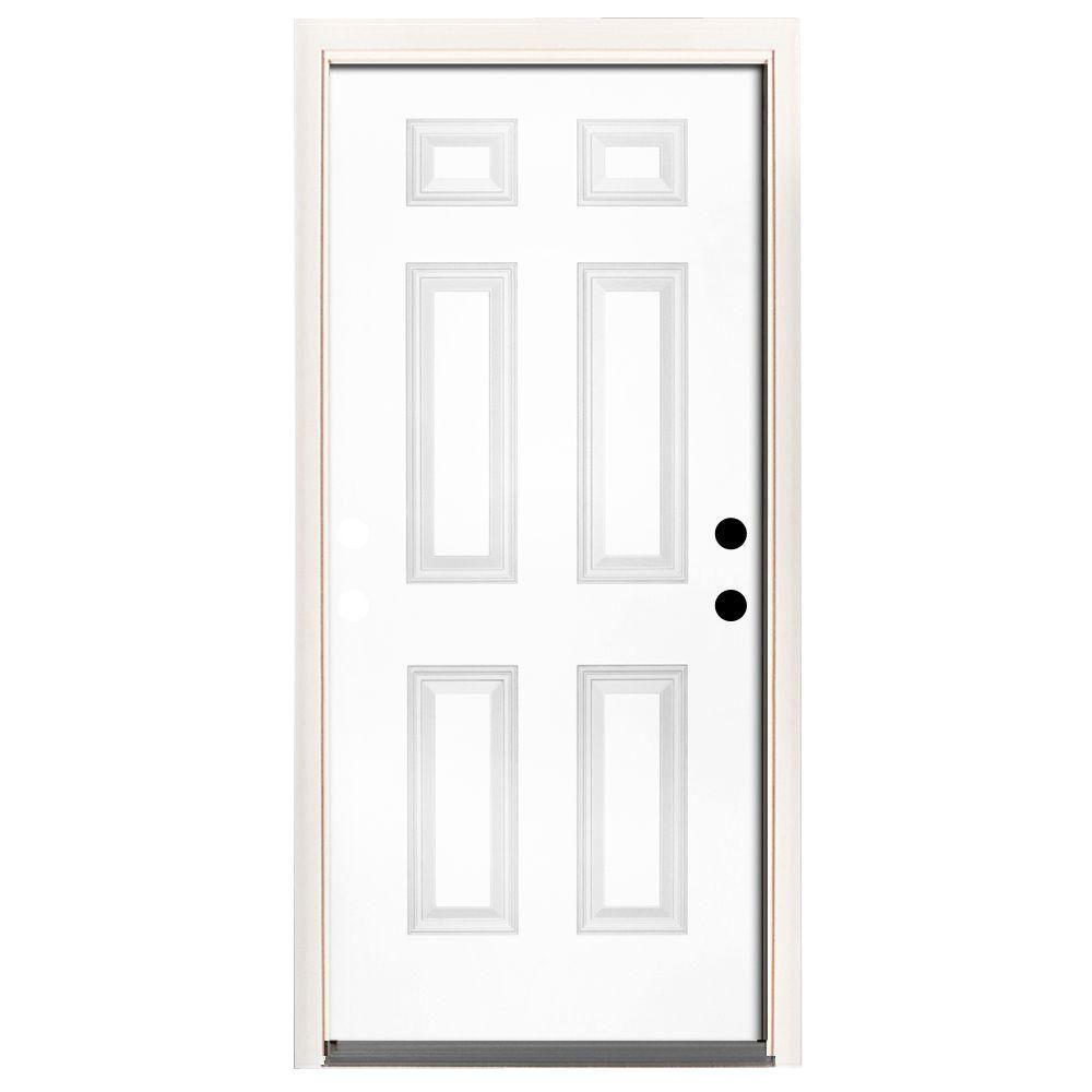 Steves & Sons 36 in. x 80 in. Premium 6-Panel Primed White Steel Prehung Front Door with 36 in. Left-Hand Inswing and 6 in. Wall