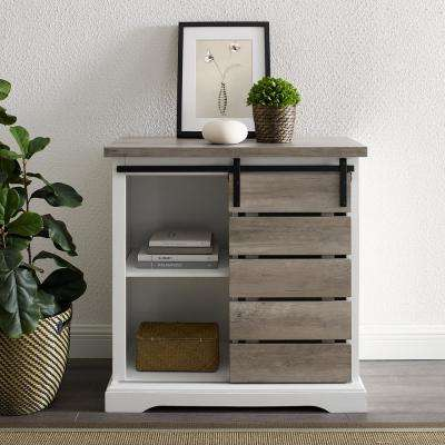 32 in. Solid White/Grey Wash Rustic Farmhouse Sliding Slat Door Accent Console