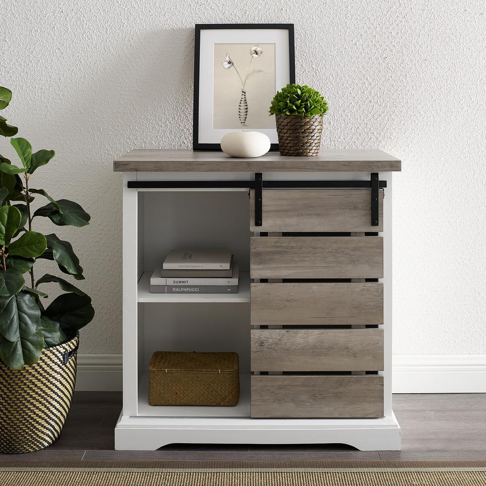 Walker Edison Furniture Company 32 in. Solid White/Grey Wash Rustic Farmhouse