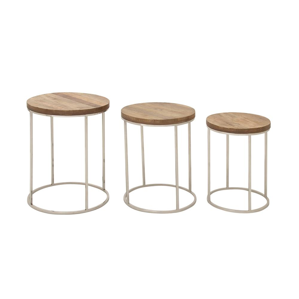 Brown Wood and Stainless Steel Silver Nesting Accent Tables (Set of