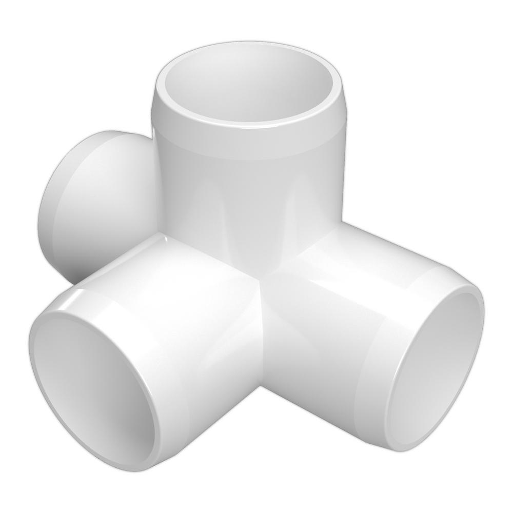 Formufit 1/2 in. Furniture Grade PVC 4-Way Tee in White (10-Pack)