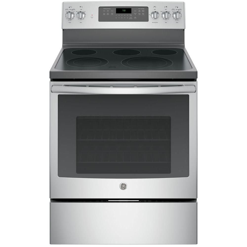 Ge 53 Cu Ft Electric Range With Self Cleaning Convection Oven In