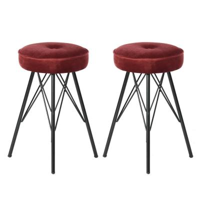 Eketahuna 20.4 in. Red Velvet Stools (Set of 2)