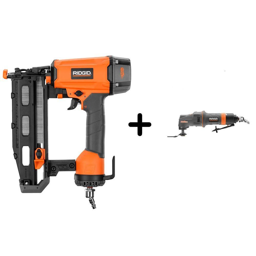 RIDGID 16-Gauge 2-1/2 in. Straight Nailer and Pneumatic JobMax Multi-Tool Starter Kit