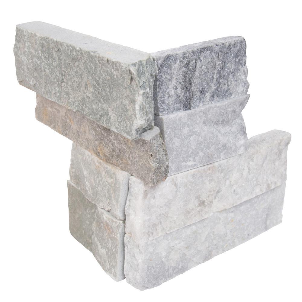 MSI Alaska Gray Ledger Corner 6 in. x 6 in. x 6 in. Natural Marble Wall Tile (2.5 sq. ft./case)