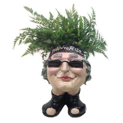 13 in. H Biker Babe Painted Muggly Face Planter in Motorcycle Attire Holds 4 in. Pot
