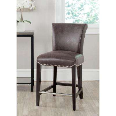 Seth 25.9 in. Antique Brown Cushioned Bar Stool