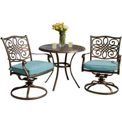 Traditions 3-Piece Outdoor Bistro Set with Round Cast-Top Table and Swivel Chairs with Blue Cushions