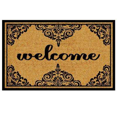 Welcome Ornate Border 18 in. x 30 in. Coir Custom Door Mat