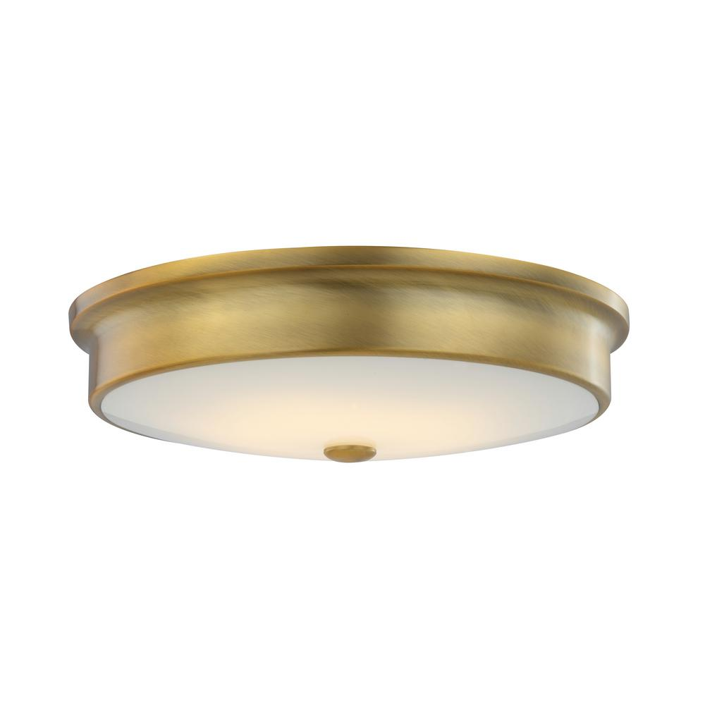 Home Decorators Collection Versailles 15 in. Aged Brass LED Flush Mount Ceiling Light with White Glass Shade