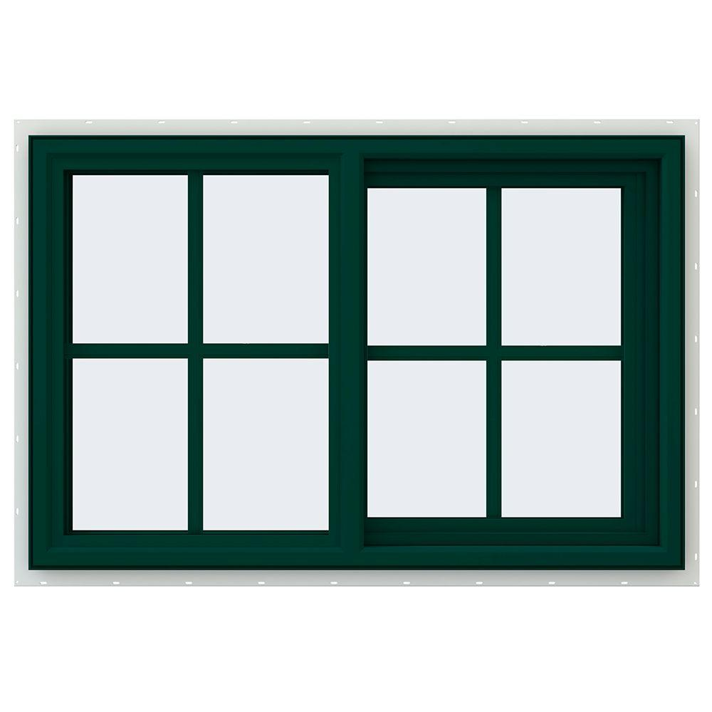 JELD-WEN 35.5 in. x 23.5 in. V-4500 Series Right-Hand Sliding Vinyl Window with Grids - Green