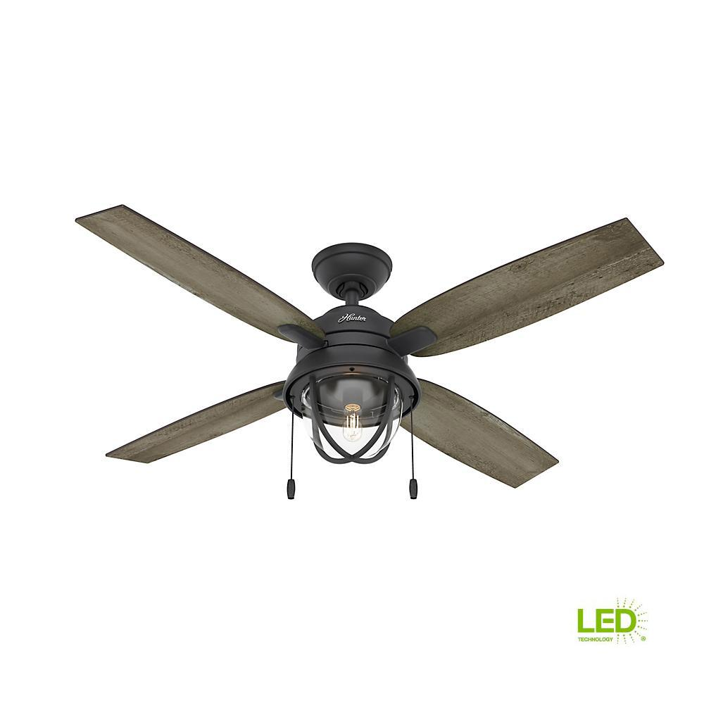 Hunter Barnes Bay 52 In LED Indoor Outdoor Natural Iron Ceiling Fan With Light