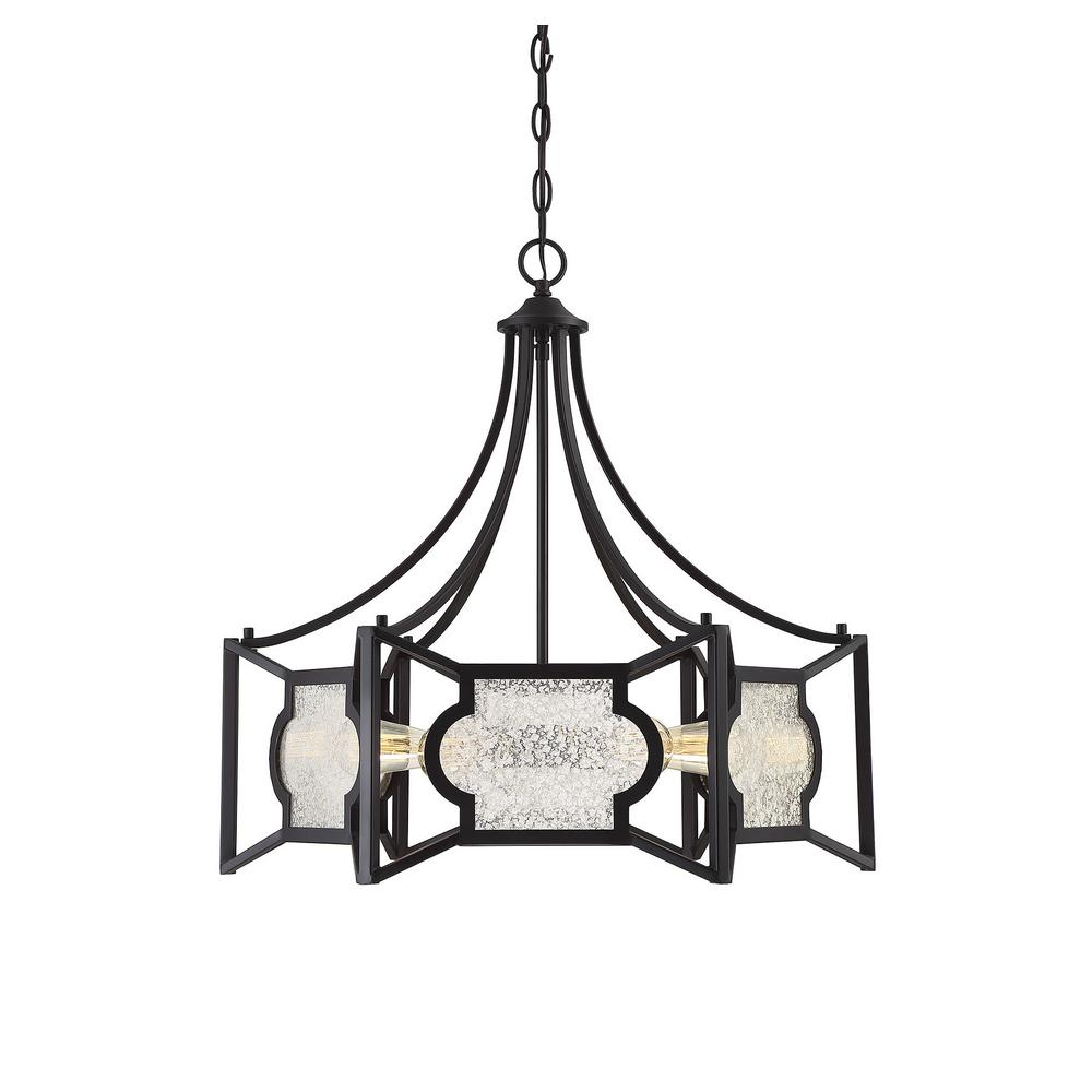 Filament design 6 light english bronze chandelier with antique mercury glass