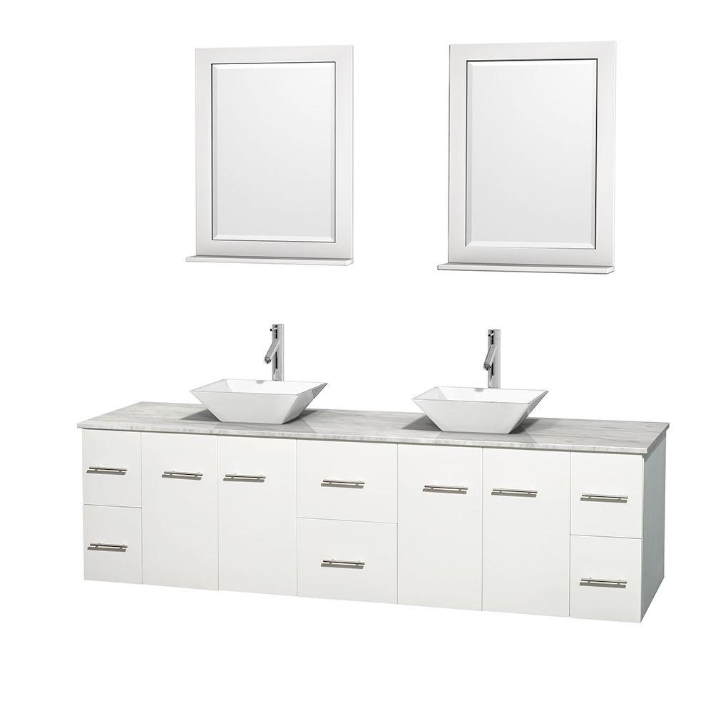Wyndham Collection Centra 80 In Double Vanity In White With Marble