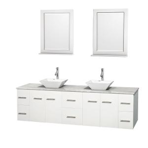 Wyndham Collection Centra 80 inch Double Vanity in White with Marble Vanity Top in Carrara White, Porcelain Sinks and 24... by Wyndham Collection