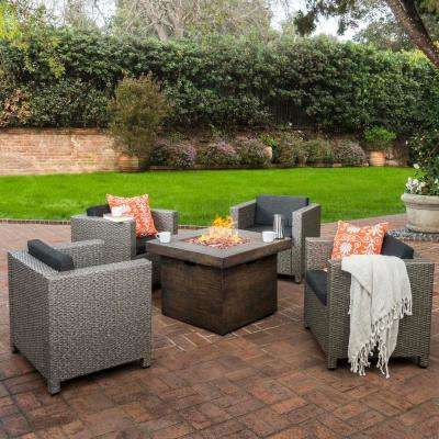 Puerta Mixed Black 5-Piece Wicker Patio Fire Pit Conversation Set with Dark Gray Cushions