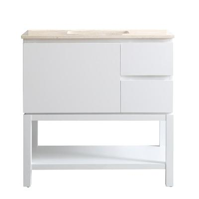 Vinnova Venzia 36 in. W x 21 in. D x 36 in. H Vanity in White with Marble Vanity Top in Creama Marfil with White Basin