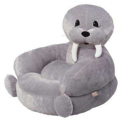Gray Children's Plush Walrus Character Chair