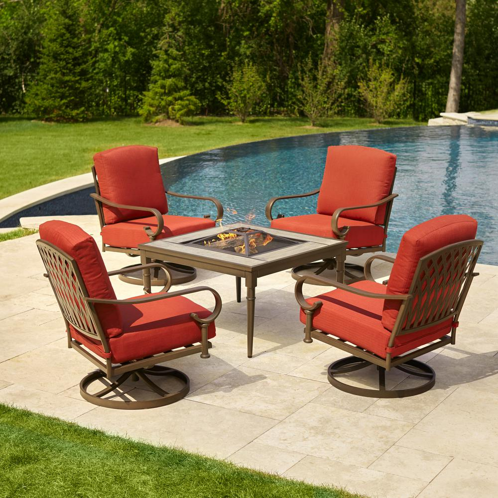 Oak Cliff 5 Piece Metal Patio Fire Pit Conversation Set With Chili Cushions