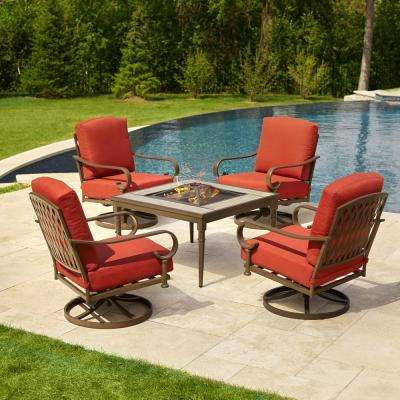 Superior Oak Cliff 5 Piece Metal Patio Fire Pit Conversation Set With Chili Cushions