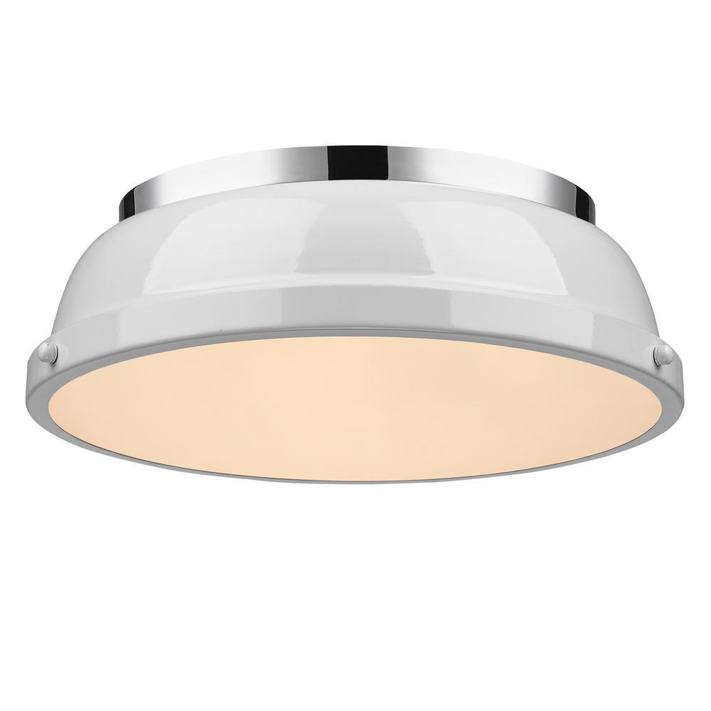 Duncan 2-Light Chrome Flush Mount with White Shade