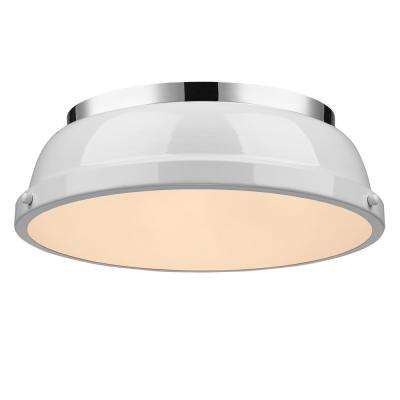 Duncan 2-Light Chrome Flushmount with White Shade