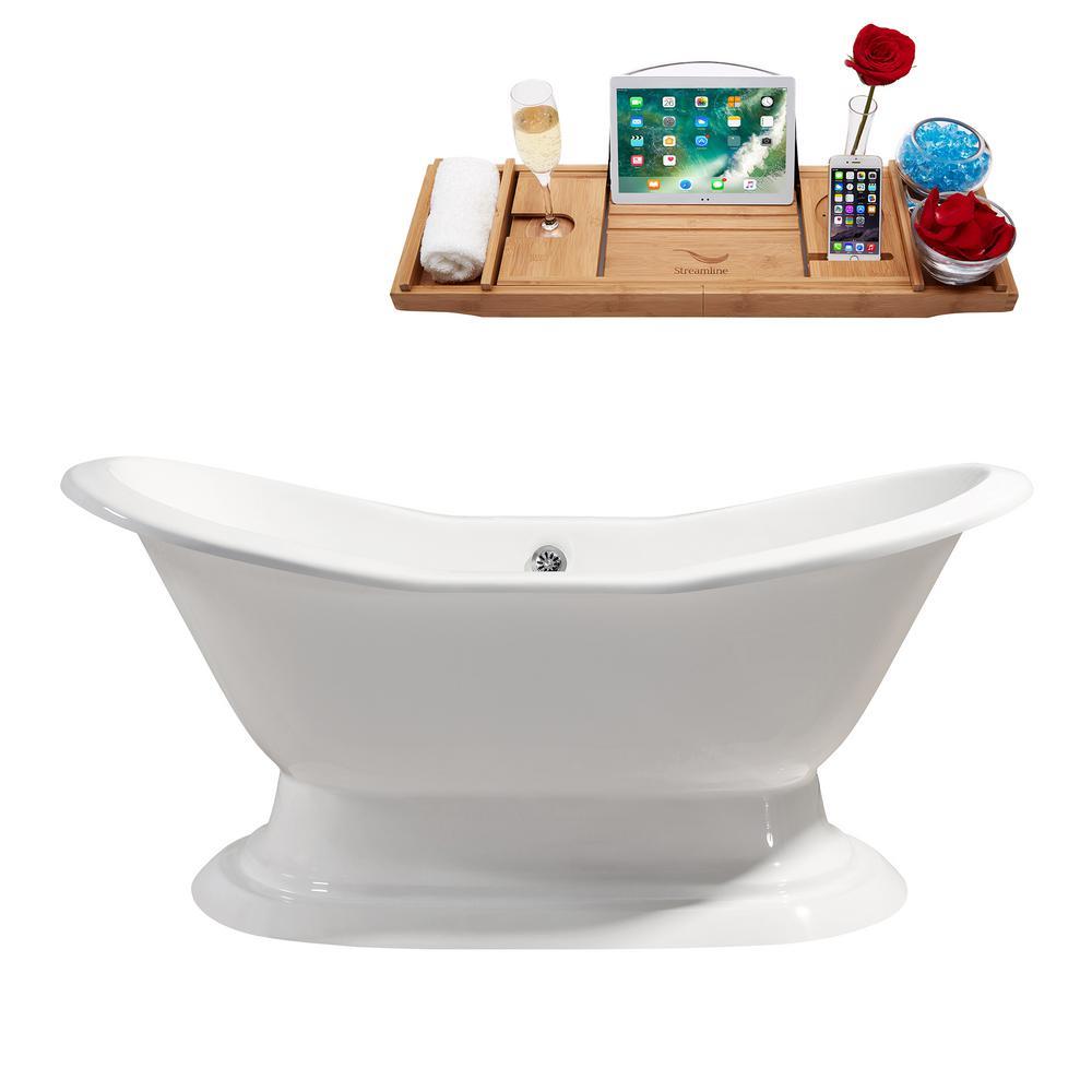 61 in. Cast Iron Flatbottom Non-Whirlpool Bathtub in Glossy White
