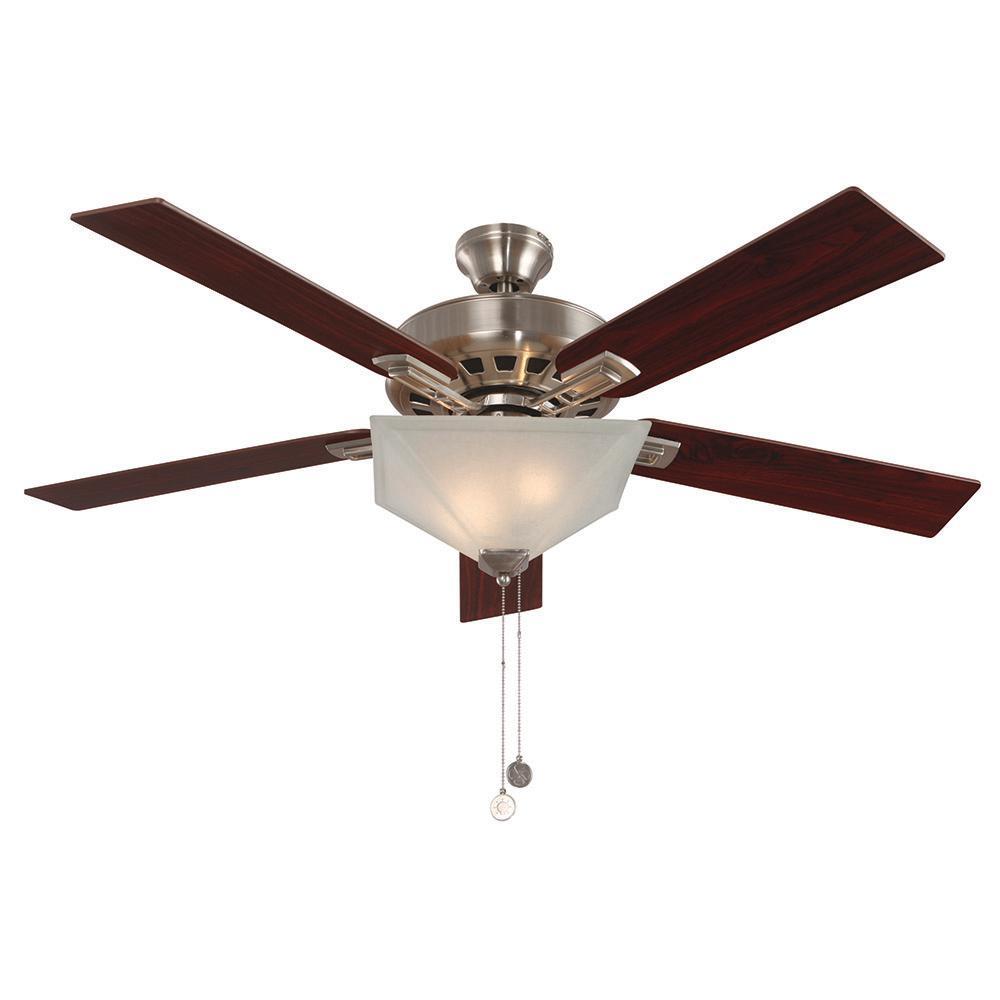 Hann 52 in. Indoor Satin Nickel Ceiling Fan with Light Kit