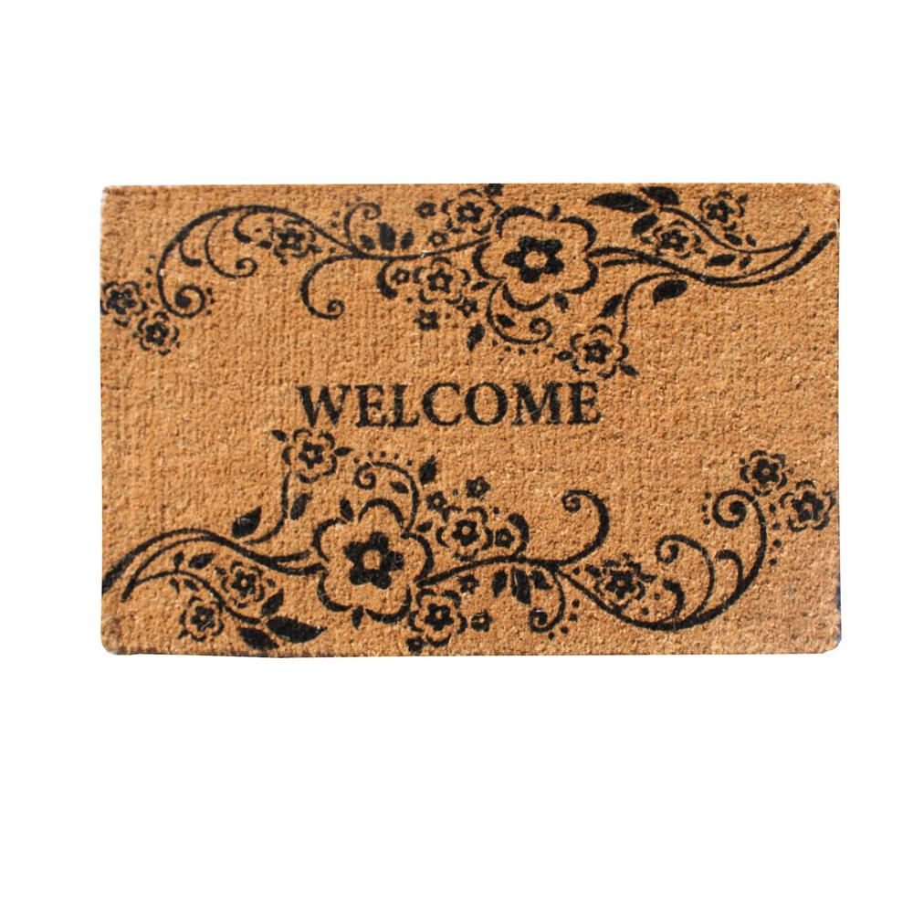 A1hc first impression large floral welcome beige black 24 in x 36 in