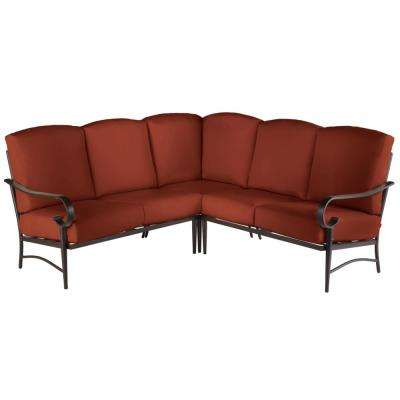 Oak Cliff 3-Piece Brown Steel Outdoor Patio Sectional Sofa with Sunbrella Henna Red Cushions