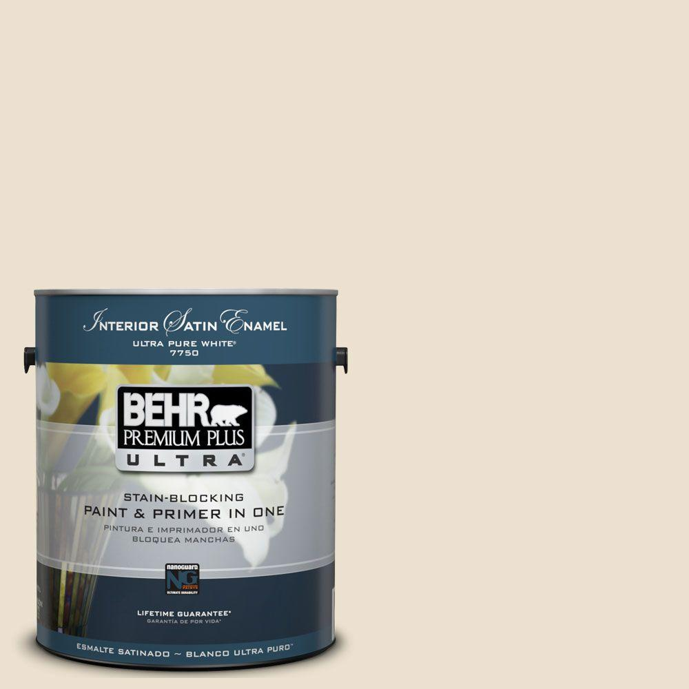 BEHR Premium Plus Ultra 1 gal. #UL160-12 Ivory Lace Satin Enamel Interior Paint and Primer in One