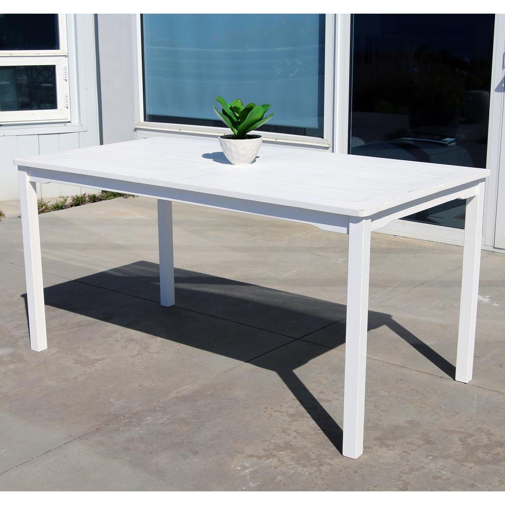 Vifah bradley 59 in x 32 in white acacia patio dining for White patio table