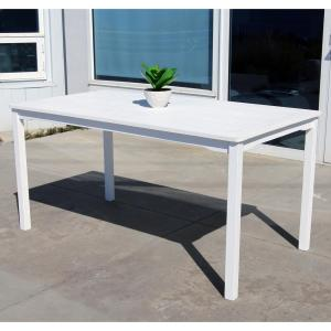 white acacia patio dining table