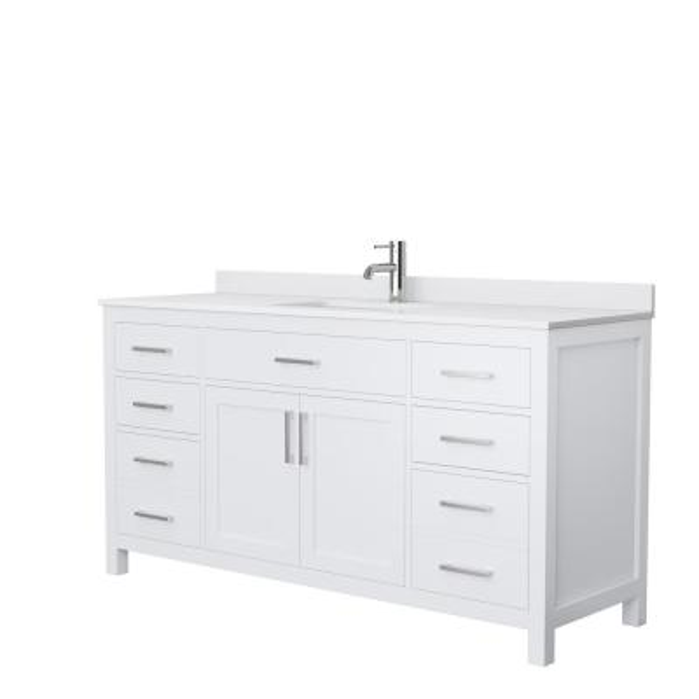 Beckett 66 in. W x 22 in. D Single Vanity in White with Cultured Marble Vanity Top in White with White Basin