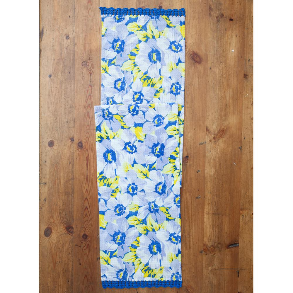 April Cornell Blue Daydream Fl Honeycomb 13 In X 72 Table Runner
