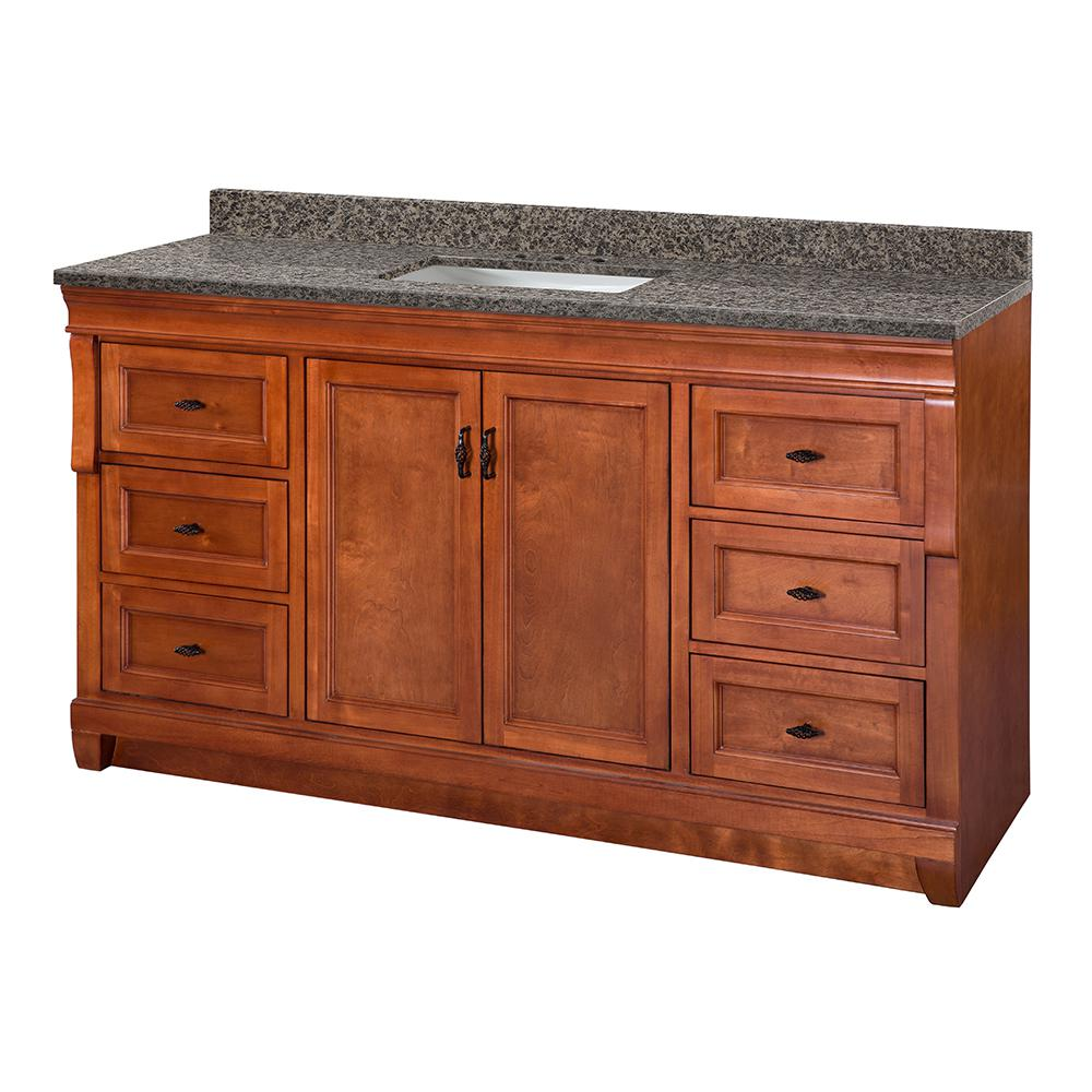 Home Decorators Collection Naples 61 in. W x 22 in. D Vanity in Warm Cinnamon with Granite Vanity Top in Sircolo with White Sink was $1699.0 now $1189.3 (30.0% off)