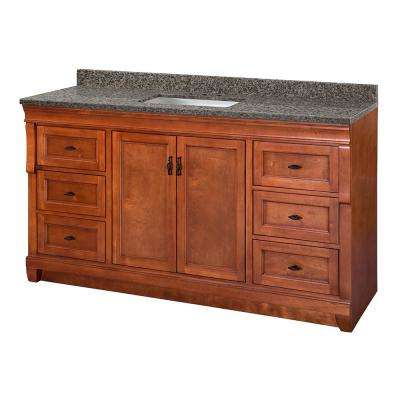 Naples 61 in. W x 22 in. D Vanity in Warm Cinnamon with Granite Vanity Top in Sircolo with White Sink